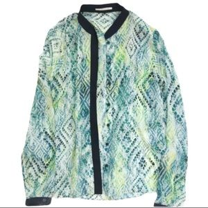 T Tahari neon green button up graphic top s